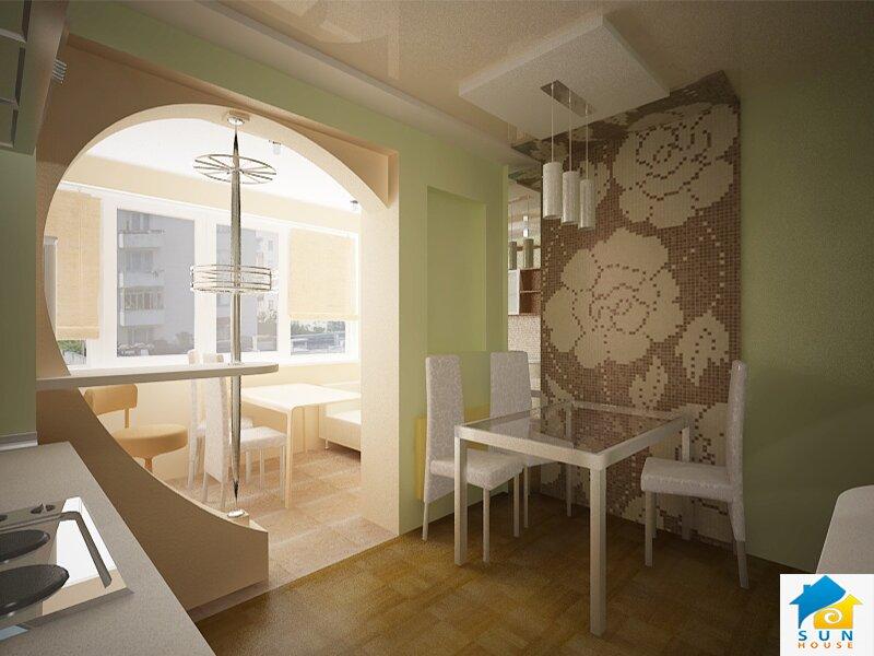 Совмещенный балкон с кухней. криволинейная арка. барная стой.